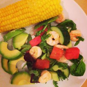 Watermelon and chilli king prawn salad