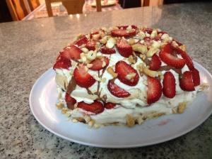 Cashew 'nutted' pavlova cake