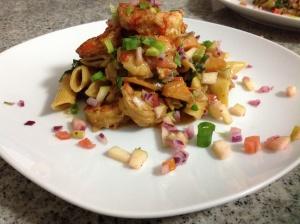 Spicy prawn linguine pasta