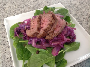 Baby spinach and crunchy cabbage Beef Fillet salad