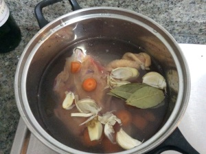 All the ingredients in a pot