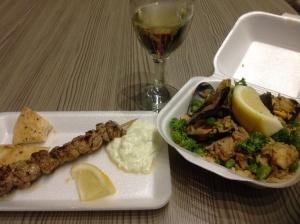 Mains- Seafood Paella and Greek pork souvlaki