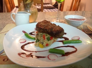 Beef fillet/ couscous and red wine jus