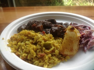Ostrich stew with savoury rice, potato and coleslaw