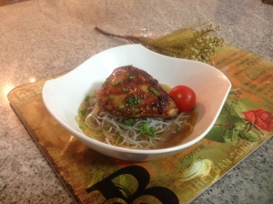 Roasted chicken with Chinese noodles and broth