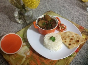 Lamb curry with homemade roti and sambals