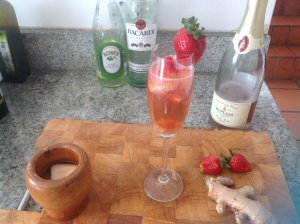 Rum & Lime infused Strawberry bubbles