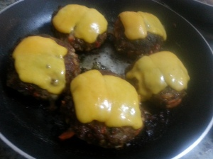 Burger topped with cheese