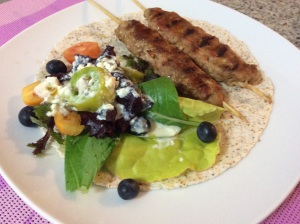 Pork kebabs with garden salad and cottage cheese dressing