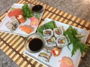 Starter: salmon sushi