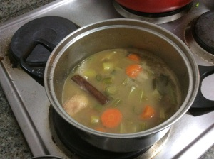 Cooking the broth