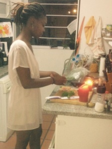 Cooking by candle light