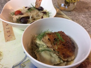 Stuffed ravioli with vermicelli, roasted chicken and a Japanese broth