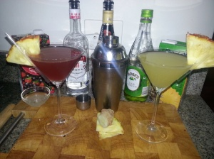 Berry and pineapple ginger martinis