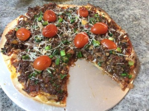 Homemade Ostrich Mexicana pizza