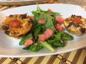 Ham and ostrich mince tart with a watermelon green salad