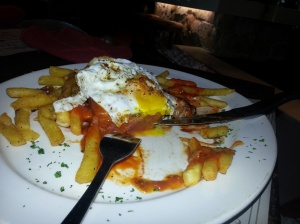 Portuguese steak with peri peri sauce and egg