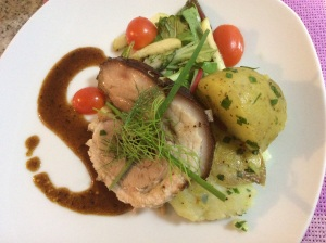 slow roasted pork belly, potato rosti, apple greens with apple\pineapple sauce