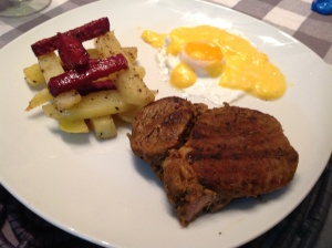Steak, poached egg and potato & beetroot chips with Hollandaise sauce