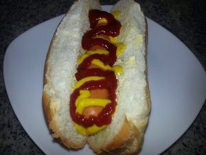 Simple dog with tomato and mustard sauce